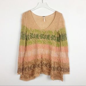 Free People | Tan green brown v neck sweater | M